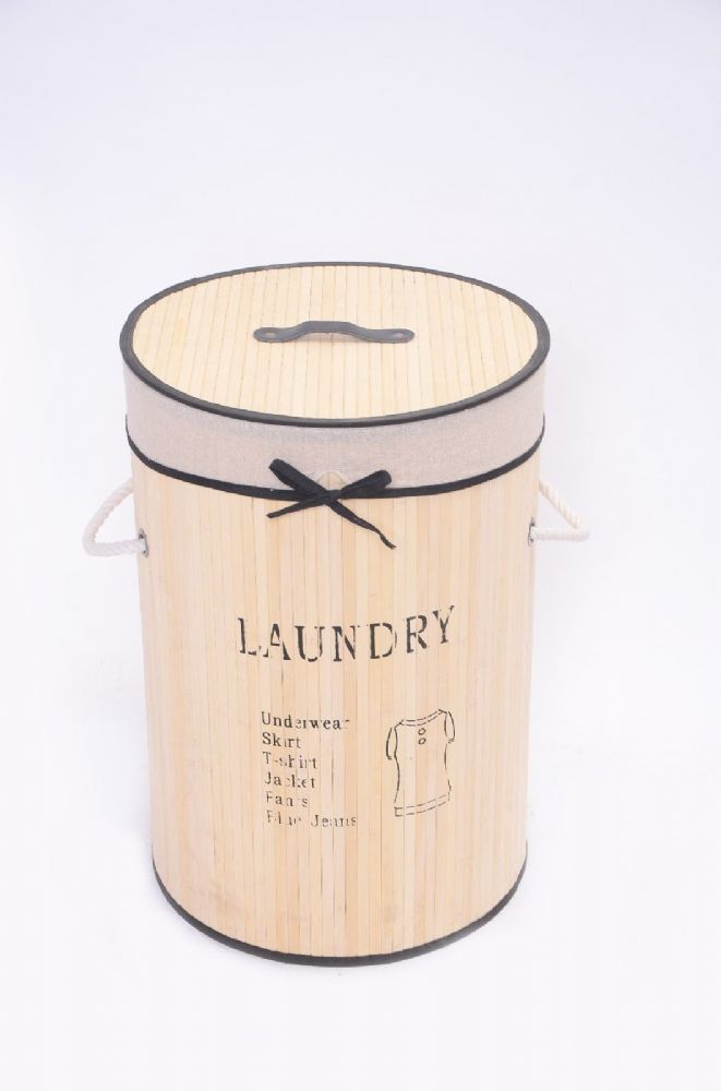 CREAM LAUNDRY BAMBOO WASHING CLOTHES BASKET WITH LID FOLD AWAY STORAGE BIN - ROUND